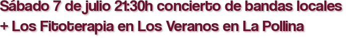Sábado 7 de julio 21:30h concierto de bandas locales + Los Fitoterapia en Los Veranos en La Pollina