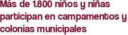 Más de 1.800 niños y niñas participan en campamentos y colonias municipales