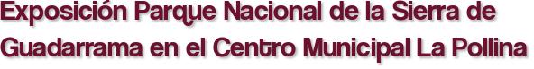 Exposición Parque Nacional de la Sierra de Guadarrama en el Centro Municipal La Pollina