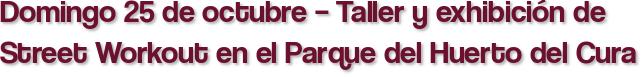 Domingo 25 de octubre – Taller y exhibición de Street Workout en el Parque del Huerto del Cura