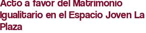 Acto a favor del Matrimonio Igualitario en el Espacio Joven La Plaza