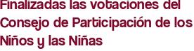 Finalizadas las votaciones del Consejo de Participación de los Niños y las Niñas