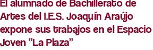 """El alumnado de Bachillerato de Artes del I.E.S. Joaquín Araújo expone sus trabajos en el Espacio Joven """"La Plaza"""""""