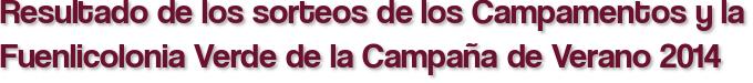 Resultado de los sorteos de los Campamentos y la Fuenlicolonia Verde de la Campaña de Verano 2014