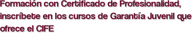 Formación con Certificado de Profesionalidad, inscríbete en los cursos de Garantía Juvenil que ofrece el CIFE