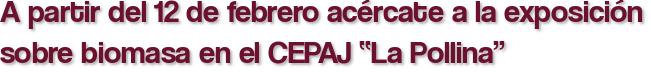 """A partir del 12 de febrero acércate a la exposición sobre biomasa en el CEPAJ """"La Pollina"""""""