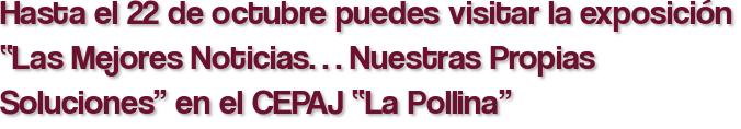 """Hasta el 22 de octubre puedes visitar la exposición """"Las Mejores Noticias… Nuestras Propias Soluciones"""" en el CEPAJ """"La Pollina"""""""