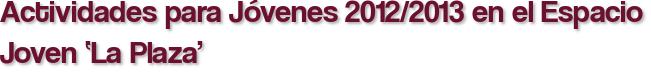 Actividades para Jóvenes 2012/2013 en el Espacio Joven 'La Plaza'